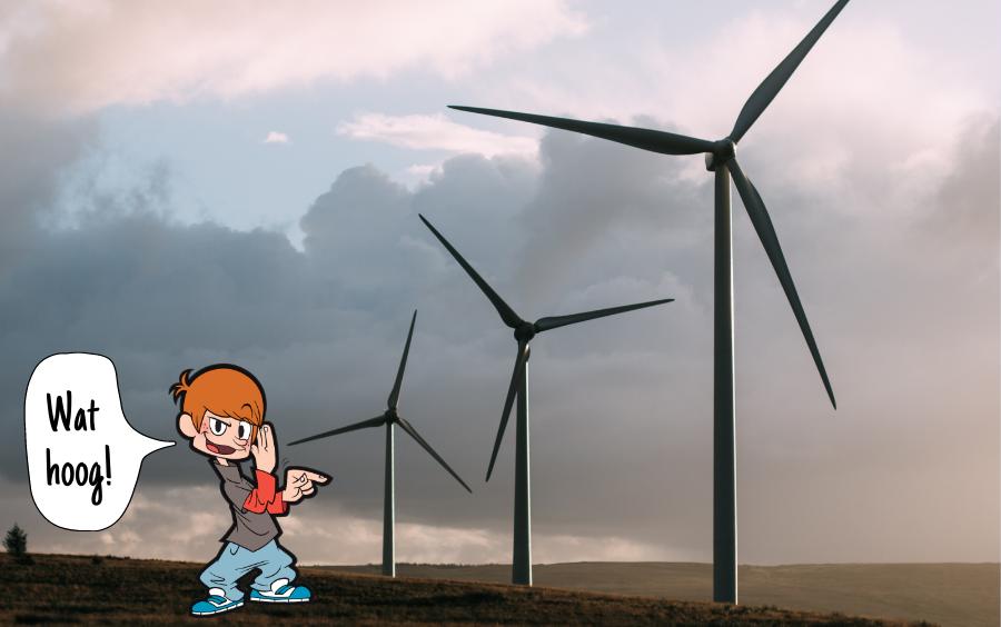 Joost vindt windmolens hoog.