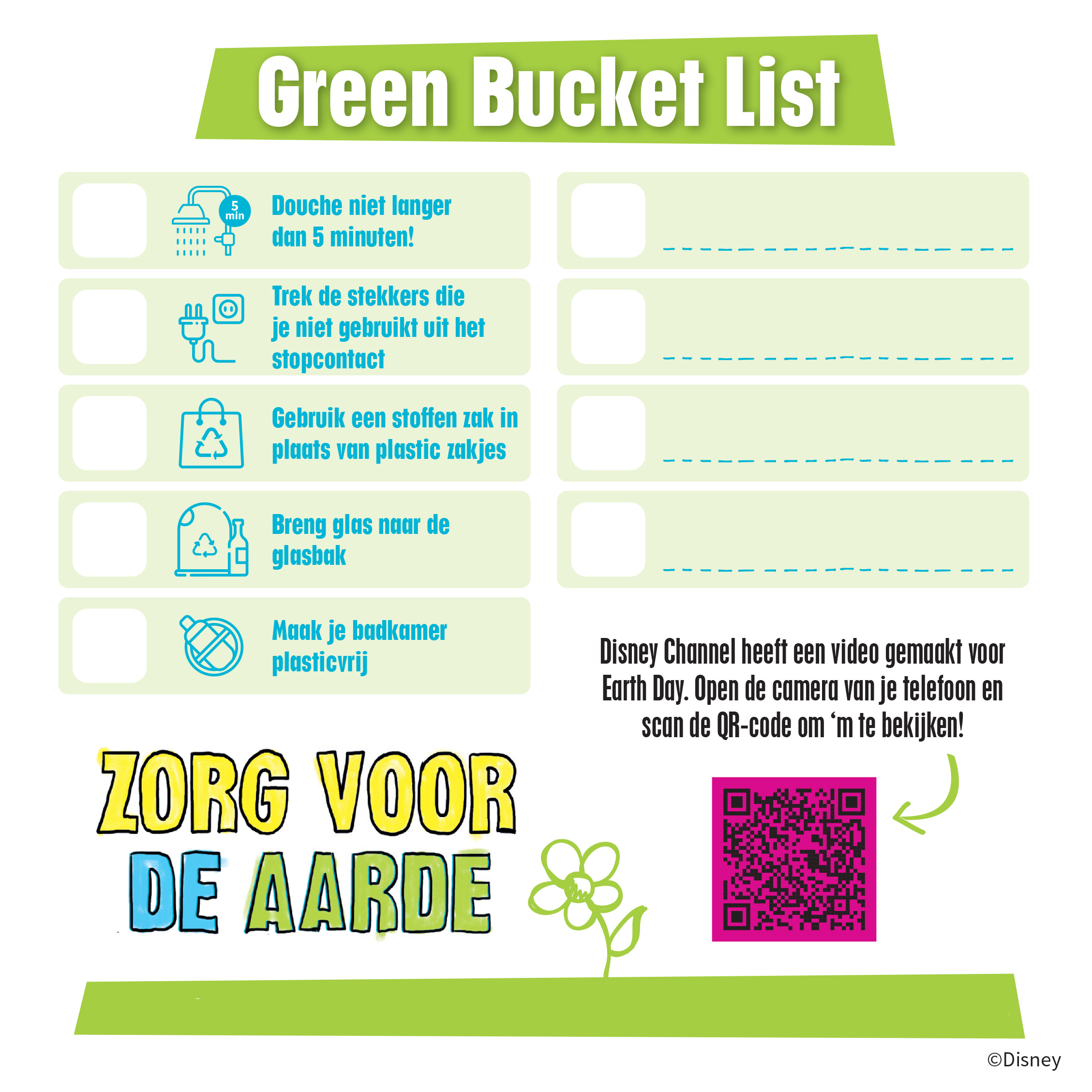 Disney Channel World Earth Day bucketlist